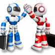 Blue robot and red robot gave each other high fives. 3D Robot Ch — Stock Photo