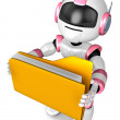 Folder holding the pink robots. 3D Robot Character Design — Stock Photo
