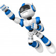 Blue robot flying towards the sky. 3D Robot Character Design — Stock Photo