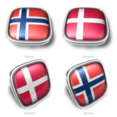 Norway and Denmark 3d metallic square flag button — Stock Photo