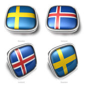 Sweden and Iceland 3d metallic square flag button — ストック写真