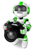 Green Robot a photographic shoot. 3D Robot Character Design — Stock Photo