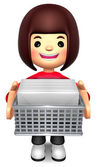 Girl holding a bunch of letters. 3D Family Character Design — Stock Photo