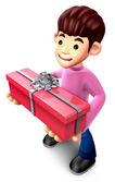 подросток холдинг подарочная коробка длиной. 3d семейный характер дизайна — Стоковое фото
