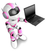 Pink Robot holding a laptop. 3D Robot Character Design — Stock Photo