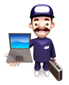 The man carrying the Briefcase with laptop. 3D Business Man Char — Stock Photo