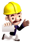 Ran a construction site staff to give us a business card. 3D Job — Stock Photo
