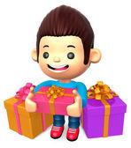 多くの贈り物の少年。子供たちの 3 d キャラクター デザイン — ストック写真