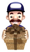 Service man holding a big gift box. 3D Works Character Design — Stock Photo