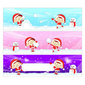 Snowball play Couples Snowman Mascot using a variety of banner d — Stock Vector