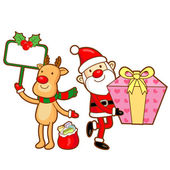 Santa Claus and Rudolph mascot the event activity. Christmas Cha — Stok Vektör