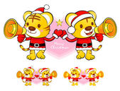 Santa Claus and Rudolph mascot the event activity. Christmas Cha — Stockvector