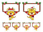 圣诞老人吉祥物使用各种横幅设计。圣诞 — 图库矢量图片