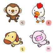 正在运行的猴子、 狗、 鸡和猪吉祥物。东 twel — 图库矢量图片