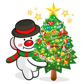 Snowman Mascot the event activity. Christmas Character Design Se — Stockvektor