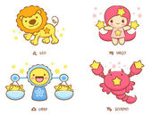 The front stand up Leo and Virgo, Libra and Scorpio Mascot. The — Vector de stock