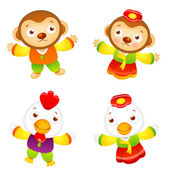 Korean clothes put on the front stand up Chickens and Monkey Ma — Stock Vector