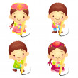 Stock Vector: Dressed in traditional costume of KoreBoys and girls Event