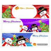 талисман снеговика с помощью различных конструкций, баннер. символ рождества — Cтоковый вектор