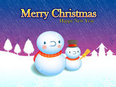 Carte décorée de bonhommes de neige. série de design de carte de noël — Vecteur