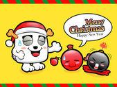 Christmas card fun dancing with the bomb. Christmas Card Design — Stock Vector
