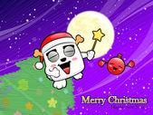 рождественская открытка весело танцевать с бомбой. рождественские карточки дизайн — Cтоковый вектор