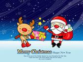 Eingerichteten weihnachtskarte weihnachtsmann und rehe. weihnachtskarte — Stockvektor