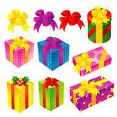 Eine vielzahl von geschenken symbole festgelegt. kreative icon-design-serie. — Stockvektor