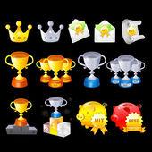 Gold, Silver, Bronze Contest Awards icon sets. Creative Icon Des — Stock Vector