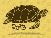 New Year greeting cards decorated with Oriental a Turtles. New Y — Stock Vector
