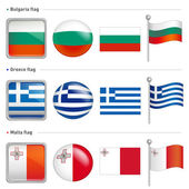 Bulgaria and Greece, Malta Flag Icon. The world national Icon De — Stock Vector