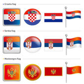Croatia and Serbia, Montenegro Flag Icon. The world national Ico — Stock Vector