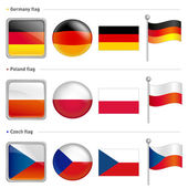 Germany and Poland, Czech Flag Icon. The world national Icon Des — Stock Vector