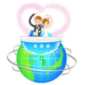 Mann und Frau die Liebe eine Hochzeitsreise. ein paar Liebe Zeichen d — Stockvektor
