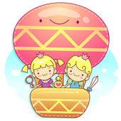 The fun a balloon Prince and Princess Mascot. A couple of Love C — Stock Vector