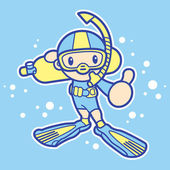 Scuba diving exercise in boys Mascot. Sports Character Design Se — Stock Vector