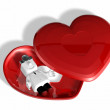 3d medical doctor in the red heart box — Stock Photo #21519871