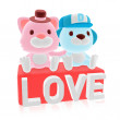 3d cute pink cat and blue dog couple — Stock Photo