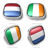 Netherlands and Republic of Ireland 3d metalic square flag butto — Stock Photo