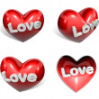 3d big red heart range four set — Stock Photo #21520137