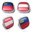 Liechtenstein and Austria 3d metalic square flag button  — Stock Photo