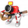 To the left toward the Red Camera Character playing the guitar. — Stock Photo
