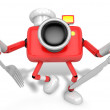 Royalty-Free Stock Photo: Chef Red Camera Character right hand, Fork in the left hand hold