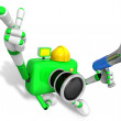 Stock Photo: Left hand point finger Engineer Green CamerCharacter.