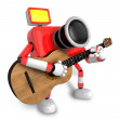 To the Right toward the Red Camera Character playing the guitar. - Stock Photo