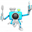 Chef Sky blue Camera Character left hand fork. The best gesture — Stock Photo