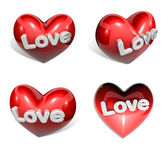 3d big red heart range four set — Stock Photo