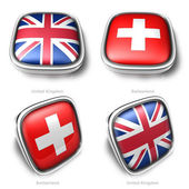 Velká británie a švýcarska 3d tlačítko metalický čtvercovou vlajku — Stock fotografie