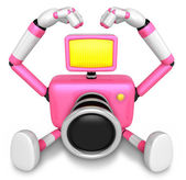 Gesture of love is Pink Camera Character Sit on the floor. Creat — Stock Photo