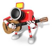 W lewo w kierunku charakter czerwony aparat gry na gitarze. — Zdjęcie stockowe